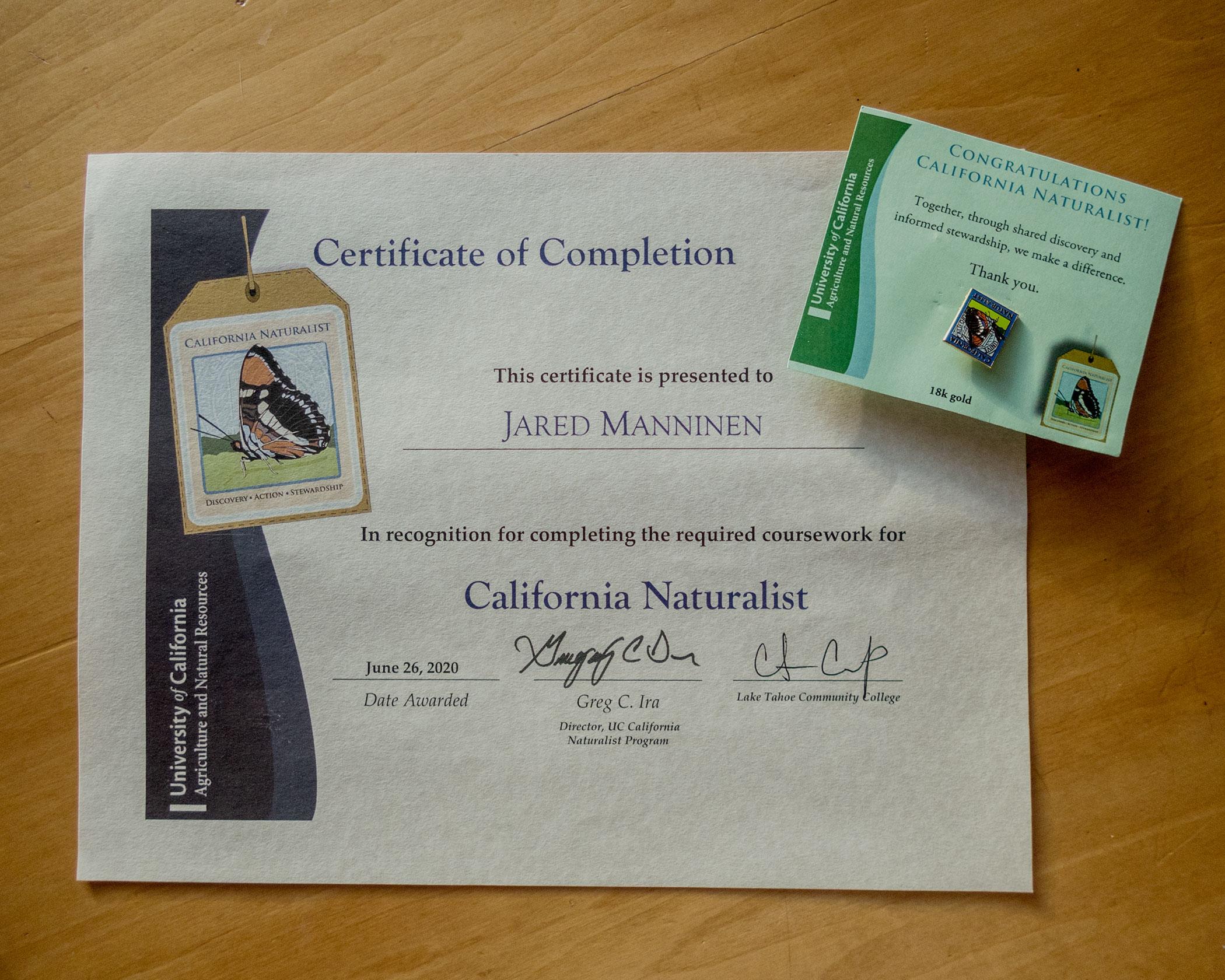 California Naturalist Certificate and Pin