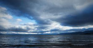 Storm clouds breaking over Lake Tahoe